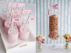 Mini Milk Bottles and Caramel Corn