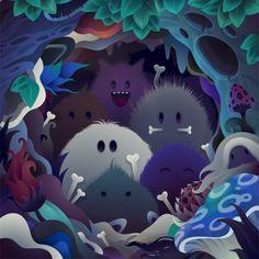 Vector Illustrations - A Modern Form of Digital Painting - Cruzine Robot Monster, Monster Art, Cute Monsters, Little Monsters, Scary Monsters, Monster Illustration, Cute Illustration, Dragons, Cgi