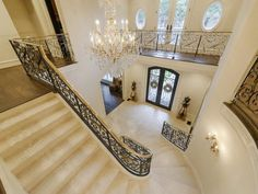 Staircase in a French Style Mansion in Dallas, Texas
