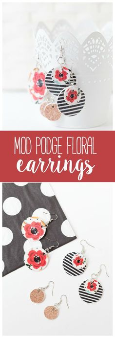 These Floral Wooden Mod Podge Earrings are a fun a simple craft idea that you can wear to match any style! They are great for craft groups, parties and gifts!