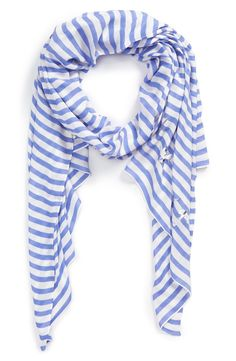 A foil-printed logo stamps a soft twill scarf colored in signature stripes from Kate Spade.