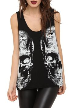 Double Vision Girls Black and White Skull Print Tank Top: Clothes