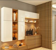Leading interior designers in Faridabad, majestic interiors llp- an interior designing firm in Delhi-NCR, unique & functional designs for commercial and residential space. Crockery Cabinet, Dining Cabinet, Crockery Units, Kitchen Room Design, Dining Room Design, Interior Design Kitchen, Living Room Partition Design, Room Partition Designs, Cupboard Design