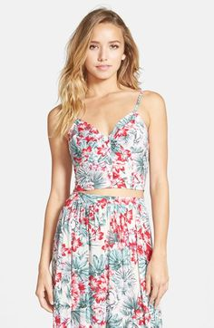 $36 miamax FROM LONDON WITH LOVE Tropical Print Crop Tank (Juniors) available at #Nordstrom, les fux with lolla