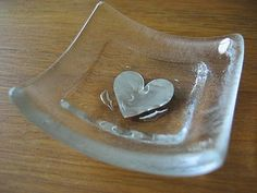Glass Dish With Silver Heart  by coasting along