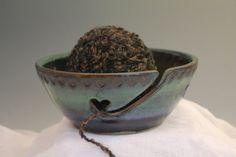 Yarn Bowl - Handmade Pottery knitting Bowl - blue and green - ready to ship - gift for knitter