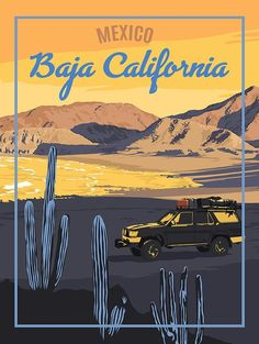 Baja California Mexico – Vintage Travel Poster - New Site Baja California Mexico, California Decor, California Travel, Ranchero Alegre, Art Deco Posters, Poster Prints, Mexican Paintings, Venice Travel, Vintage Travel Posters