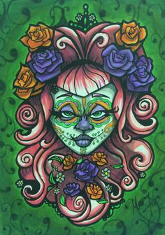 Sugar Skull beauty Sean Manning ink/color Ink Color, Sugar Skull, Coloring Pages, My Arts, It Is Finished, Projects, Fictional Characters, Beauty, Pages To Color