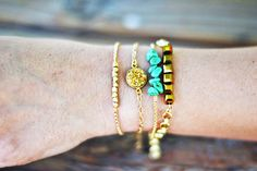 Teacher Appreciation Gift Idea via This, That and Life that GIVES BACK ~ Threads Gold Nugget Stack