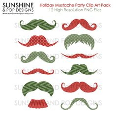 INSTANT DOWNLOAD - 12 Mustache Clip Art Digital Christmas Holiday Pack- for DIY Photo Booth Props, photobooth printables, chevron, moustache. $3.99, via Etsy.