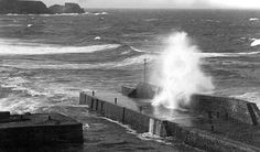 ... photograph of storm waves at the harbour in Cullen, Moray , Scotland