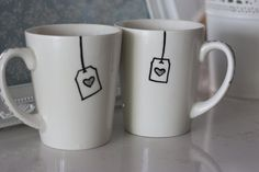 Drinking Mugs For Couples (OR BESTIES!!!)Hand Drawn by MyHeartAndMyHome, $23.00