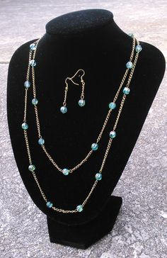 Toremore Crafts - aqua and bronze earrings and necklace