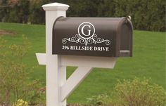 Vinyl Wall Lettering Personalized Mail Box Door Decal Address Initial Scroll Monogram