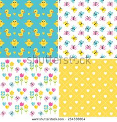 Set of cute, seamless background patterns in yellow, white, pink and blue for Spring and Easter. Includes chickens, ducklings, butterflies and hearts. - stock vector