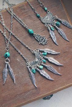 Bohemiska halsband i silver med turkos | Foxboheme
