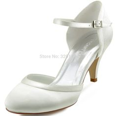 Women White Ivory Wedding Mid Heel Closed Toe Mary Jane Buckle Pumps Satin Bride Bridesmaids Bridal Dress Formal Shoes HC1509