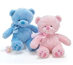 PLUSH PINK/BLUE BEAR Pink bear or blue bear. All bears have embroidered eyes and coordinating color bows around neck. The perfect First Teddy Bear. Blue Teddy Bear, Cute Teddy Bears, Knitted Animals, Plush Animals, Brother Bear, Bear Wallpaper, Bear Art, Childhood Toys, Baby Time