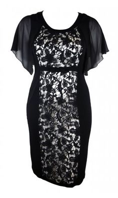 Kirsten Krog Flavia Lace Overlay Dress in Black With Cream Illusion Panel £92.50 #plussize #plussizeuk