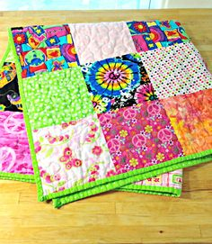 Baby Girl Quilt Crib Quilt Hippie Quilt by TheQuiltingViolinist