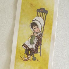 Vintage Big Eyed Print Holly Hobbie style Wall art 1970s by ismoyo, $8.50