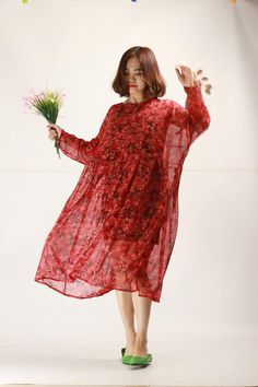 c01c9c2e33b Ruby red floral chiffon dress oversize pleated sundress beach dresses flowy  long sleeve sundresses p. Flowy Summer DressesTunic DressesPlus Size ...