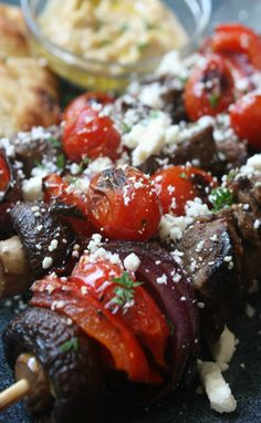 Beef Kabobs topped with Blistered Cherry Tomatoes and Feta Cheese