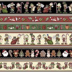 HOLLY JOLLY Dan Morris Christmas Santa Elf Shelf Cookie Border Stripe BTY #RJRFabrics
