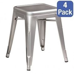 The set includes 4 metal stools. The stools are made in an industrial design and add a touch of modernity into any decor. They are durable and have non-marring feet. The stools can be stacked for easy transport or storage.