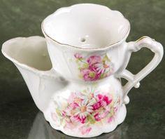 Antique Porcelain Shaving Scuttle Mug Ornate Flowers #Victorian #ShabbyChic FREE SHIPPING!