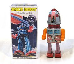 "RARE 1960s Tin Japan ""TULIP HEAD"" SPACE ROBOT WITH TV CAMERA EXC in BOX Works!! #Nomura"