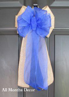 Sheer Royal Blue over Natural Burlap Bow Baby Boy, Wedding Pew Bows, Party Bows