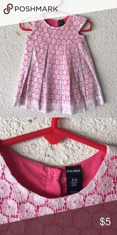 Girl's Pink and White Floral Old Navy Dress Size 3-6 Months Old Navy Dresses Casual
