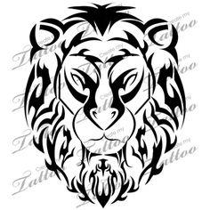 Marketplace Tattoo Tribal Lion Head #12340 | CreateMyTattoo.com