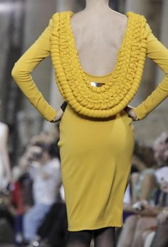 """This yellow knit is to die for- loving the cowl back with braided detail."" I agree heartily! text & image via Madelyn St. Claire"
