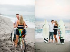 Seaside engagement photos with surfboards