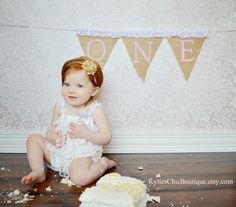 First Birthday Burlap Banner AND Headband - Cake Smash, One birthday, Highchair banner, Photo prop, Girls toddler birthday, Headband on Etsy