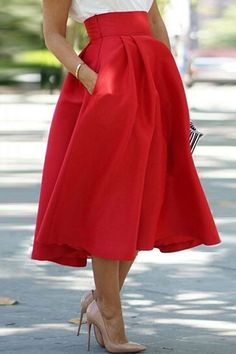 Red High Waisted A Line Skirt