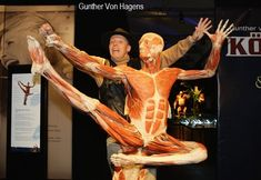 Gunther von Hagens poses with the jumping dancer exhibit at his 'Body Worlds' exhibition at Postbahnhof on May 2009 in Berlin, Germany. The exhibit opens to the public on May (Photo by Andreas Rentz/Getty Images) *** Local Caption *** Gunther von Hagens Gunther Von Hagens, Human Oddities, Medical Illustration, May 7th, Home Photo, Human Anatomy, Ballet Dancers, Nice Body, Human Body