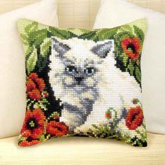 Animais - Pillow persas gato - Bow - ponto de cruz, feltragem, decoupage, bordado, ofícios