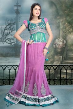 Pink Net #Wedding Stone Work #Lehenga Choli