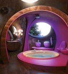 Maison en bois conçues par Sergey Makhno3 (accessoirement, salle de bain de hobbit je pense :) )