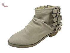 90e5b3e98c6eb9 Bottines femme plissées à boucles et zip côté, Low boots à petit talon Gris  -