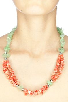 coral necklace / green iced crystal and red coral by DevikaBox, $36.00