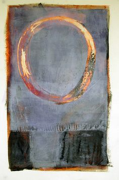 Rising Moon - Karen Darling, oil and cold wax on paper