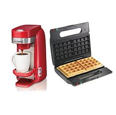 Hamilton Beach Single Serve Coffee Maker w Proctor Silex Belgian Waffle Maker >>> Read more at the affiliate link Amazon.com on image.