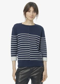 Vince Double Faced Stripe Crew Neck available in Grey and White in store
