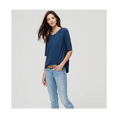 LOFT Petite 3/4 Sleeve Sweater Tee ($40) ❤ liked on Polyvore featuring tops, t-shirts, dark lake heather, raglan tee, 3/4 sleeve t shirt, 3/4 length sleeve t shirts, 3/4 sleeve tops et three quarter sleeve tees
