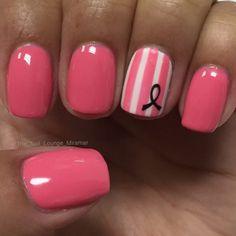Nail Art, Nail Designs, Pink Nails, Breast Cancer Awareness Nails   NAILPRO