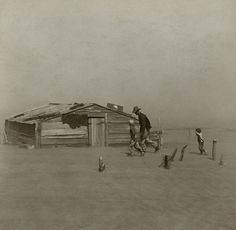 Perhaps the most famous Dust Bowl photo ever taken, a photo of a family in a dust storm, ca. 1930s, by Arthur Rothstein